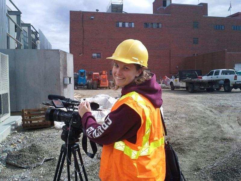 Allison Molin filming  in Billings MT at the city library construction site