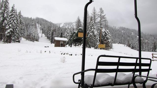 Snow at the Big Mountain Base Lodge at Whitefish Mountain Resort 11/18/13.