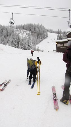 Skiers prepare to hike and ski at Big Mountain. The resort plans to open December 7th.
