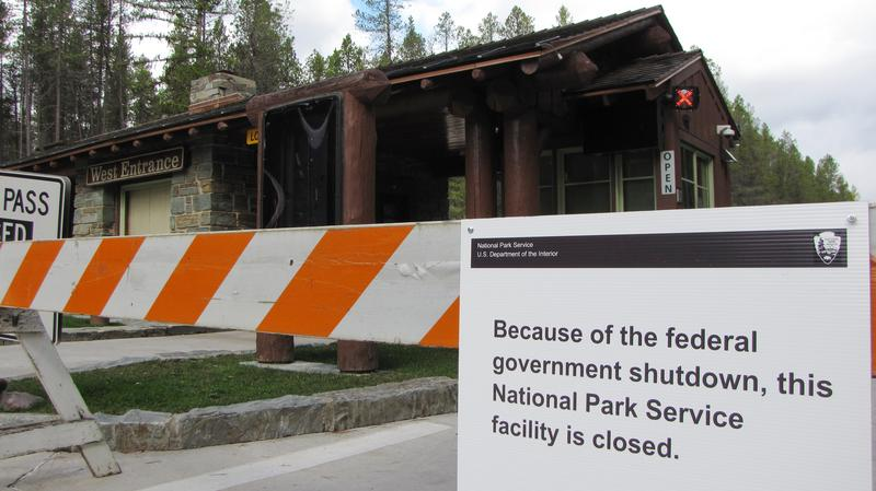 Barricade at west entrance of Glacier National Park during federal government shutdown
