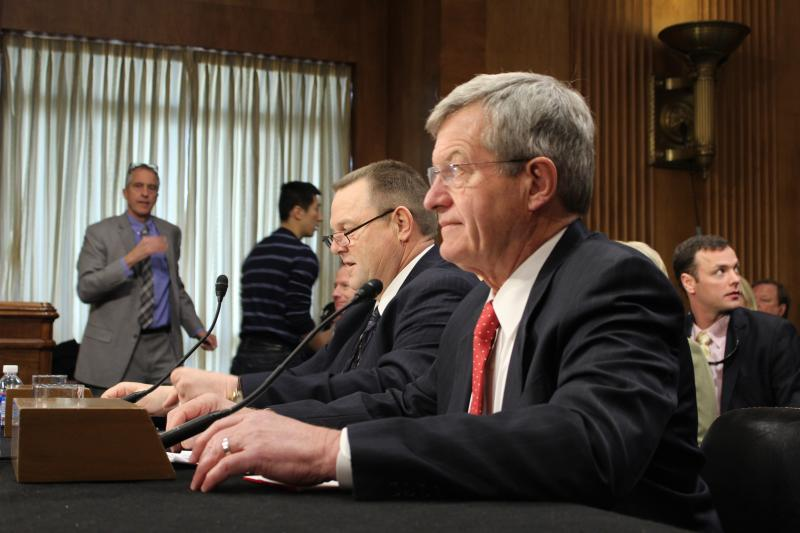 Senators Tester and Baucus before opening remarks.