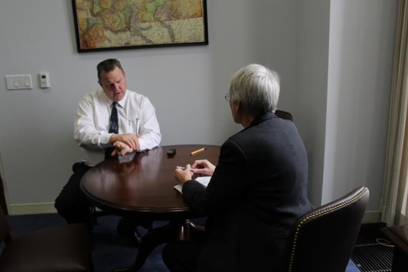 Sen. Jon Tester speaking with News Director Sally Mauk about the Baucus legacy.