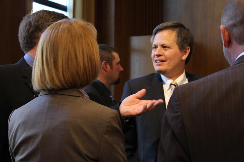 "Rep. Steve Daines (R-MT) speaking with visiting Montanans at a weekly ""coffee with constituents"" meeting in the Dirksen Senate Building."