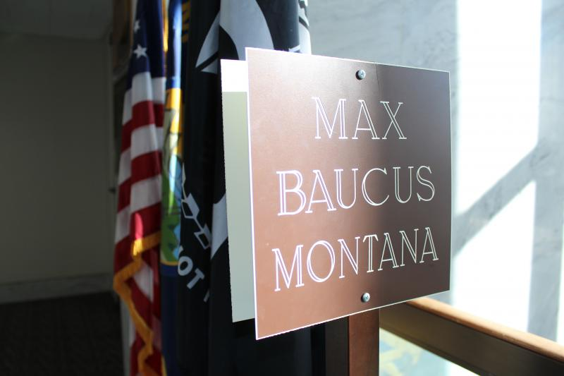 A sign outside of Sen. Baucus's office on the 5th floor of the Hart Senate Building.