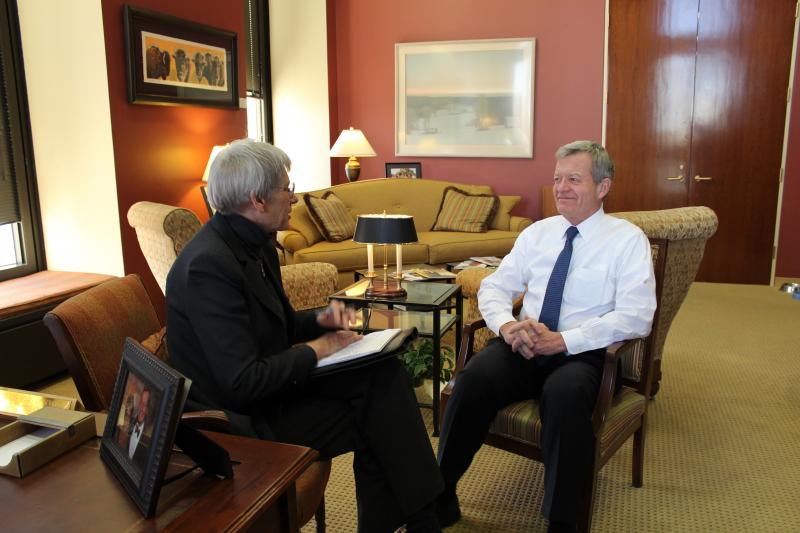 Sen. Max Baucus speaks with MTPR News Director Sally Mauk from his D.C. office.