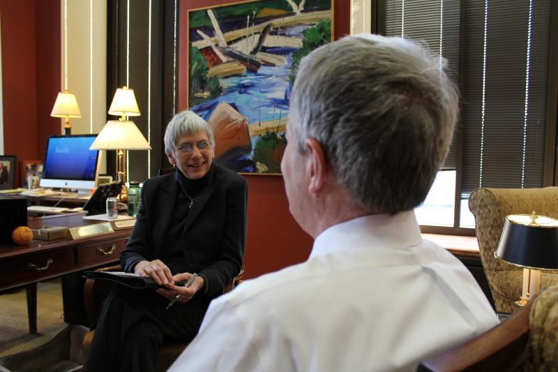 MTPR News Director Sally Mauk speaking with Sen. Max Baucus in his D.C. office.