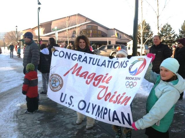 People of all ages gathered on Central Ave in Whitefish to welcome Maggie Voisin home on Tuesday.