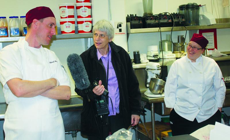 UM Dining Services executive chef Patrick Browne, Sally Mauk, UM executive sous-chef Michele Loftus