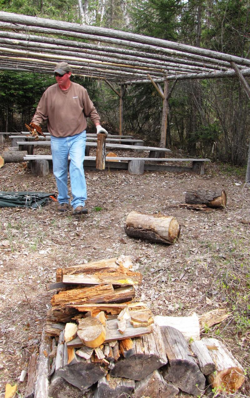 Forester Chris Damrow with FH Stolttoze Land & Lumber works with other volunteers to prep the Trumbell y Creek Educational Forest for the annual Forestry Expo.