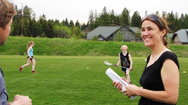 Flathead Girls Lacrosse Coach Erin Grieco oversees team practice.