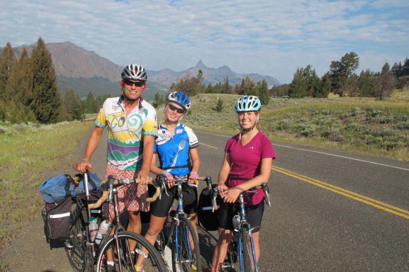 Jim with daughters near Yellowstone