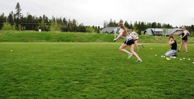 Flathead Lacrosse Girls team practice.