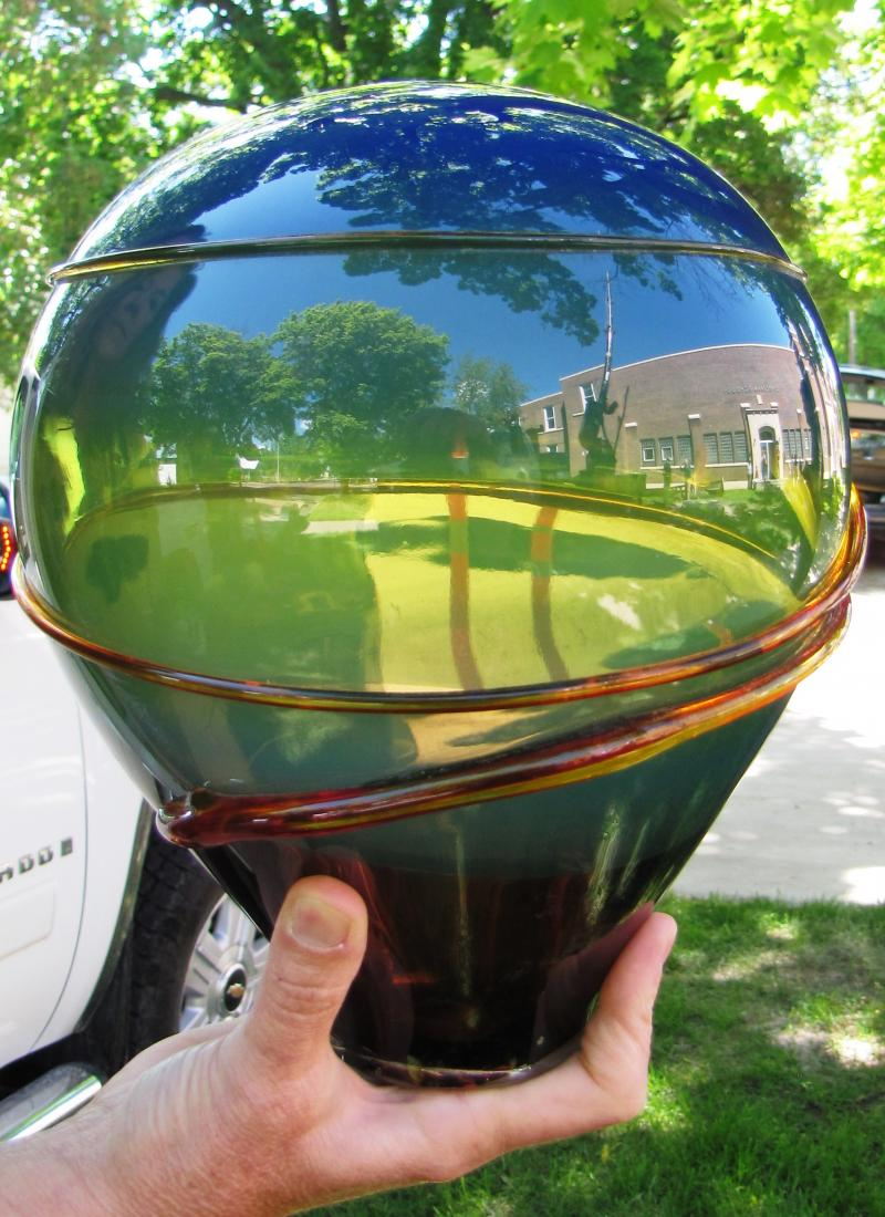 Hand blown glass from artist Lee Proctors Bigfork studio will go on the top of the Linderman Education Center sculpture.