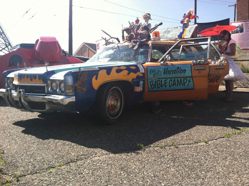 C.E. Linville drove the 1972 Chevrolet Kingswood to Butte, Montana all the way from Portland, Oregon to take part in the 2014 Montana Folk Festival art car exhibit.