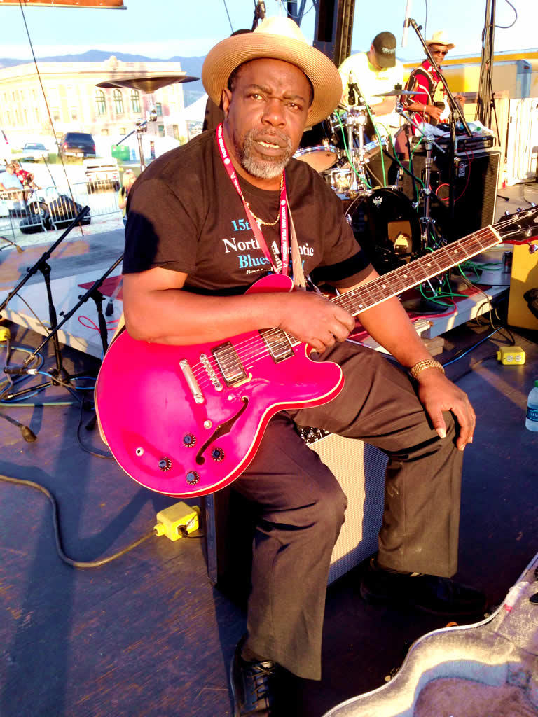 Lurrie Bell, preparing to play Chicago Blues at the Montana Folk Festival.
