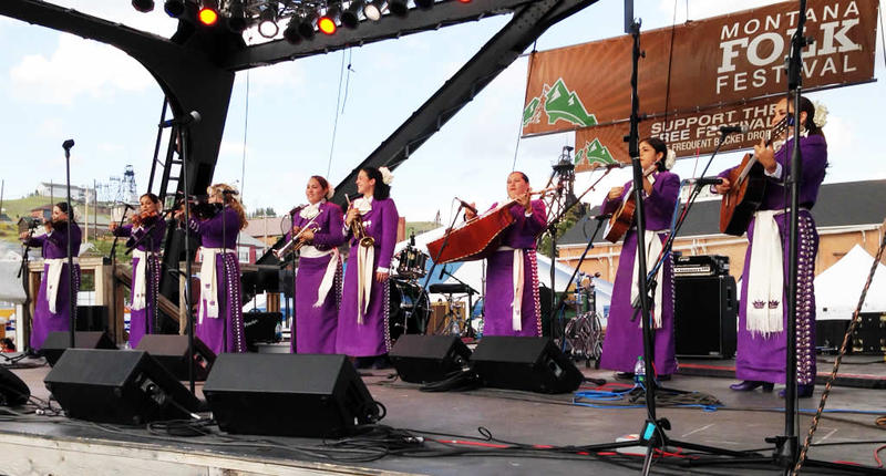 Mariachi Reyna de Los Angeles, onstage at the 2014 Montana Folk Festival