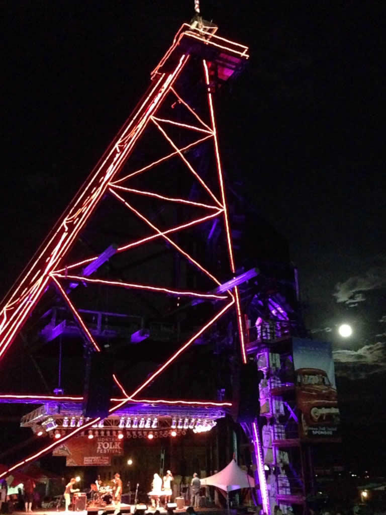 Original stage lit up and accented by the super moon.