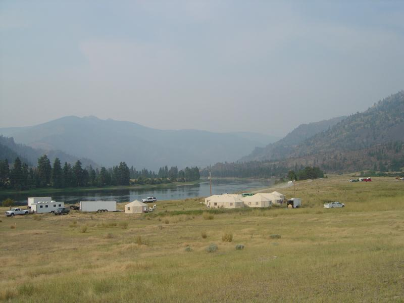 The picturesque Seepay fire camp on the north bank of the Flathead