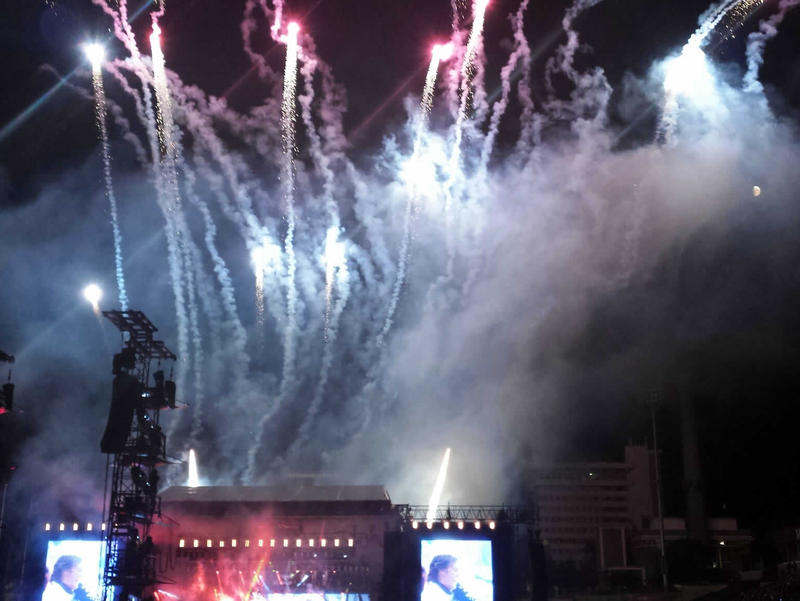 Fireworks light up the sky at the McCartney show