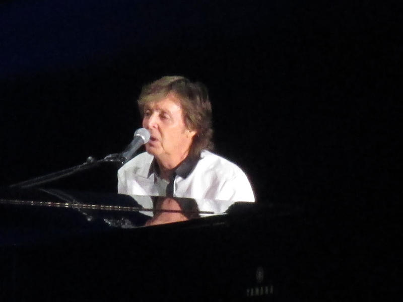 Paul McCartney sings and plays piano at the Missoula stop on his Out There tour