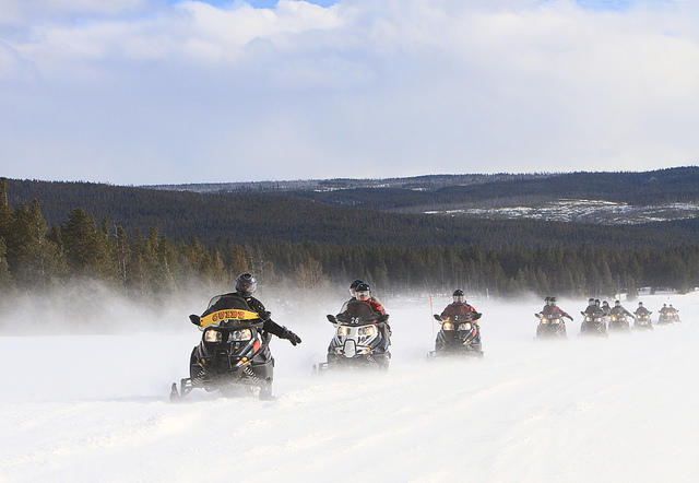 A guided snowmobile tour in Yellowstone National Park (File photo).