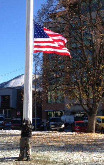 Flag at half-staff. File photo
