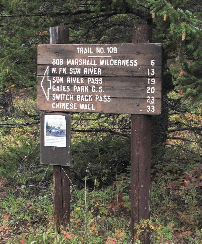 A trail sign in the Bob Marshall Wilderness.