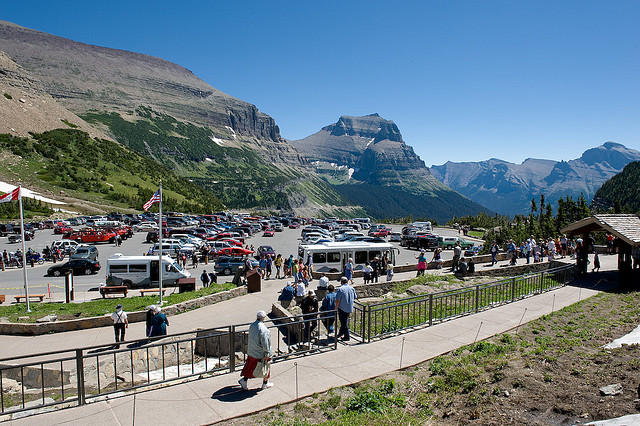 Glaicer Park's Logan Pass visitors center on a busy summer day.