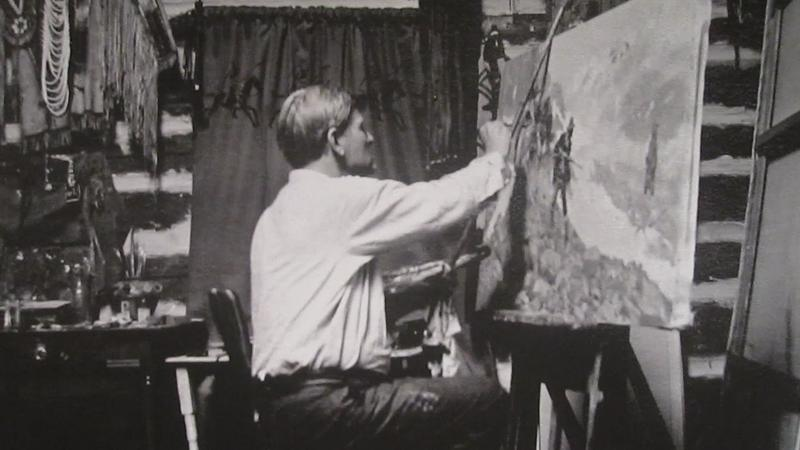 C.M. Russell paints in the studio at the Amon Carter Museum of American Art.