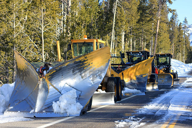 Snowplows near the Canyon area in Yellowstone National Park