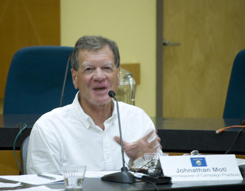 "Jonathan Motl, Montana Commissioner of Political Practices speaks during a forum about the ""Disclose Act"" in Missoula, MT"