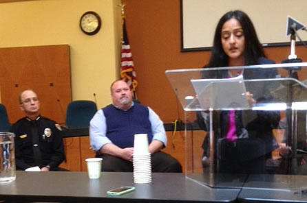 Vanita Gupta, head of the U.S Department of Justice's Civil Rights Division speaks at a press conference in Missoula on May 11, 2015, as Missoula Mayor John Engen and Missoula Police Chief Mike Brady look on.