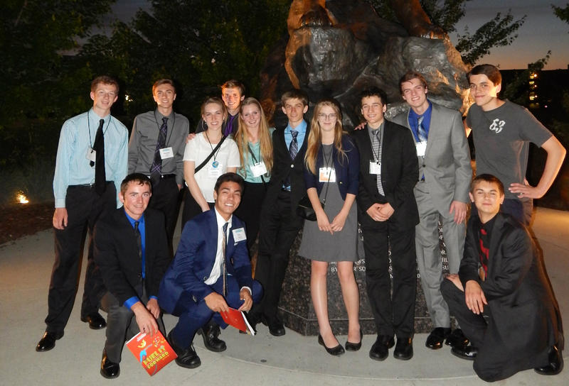 Missoula Sentinel's Imagine Tomorrow teams pose at the Cougar statue on the campus of Washington State University where the competition was held the last weekend in May.