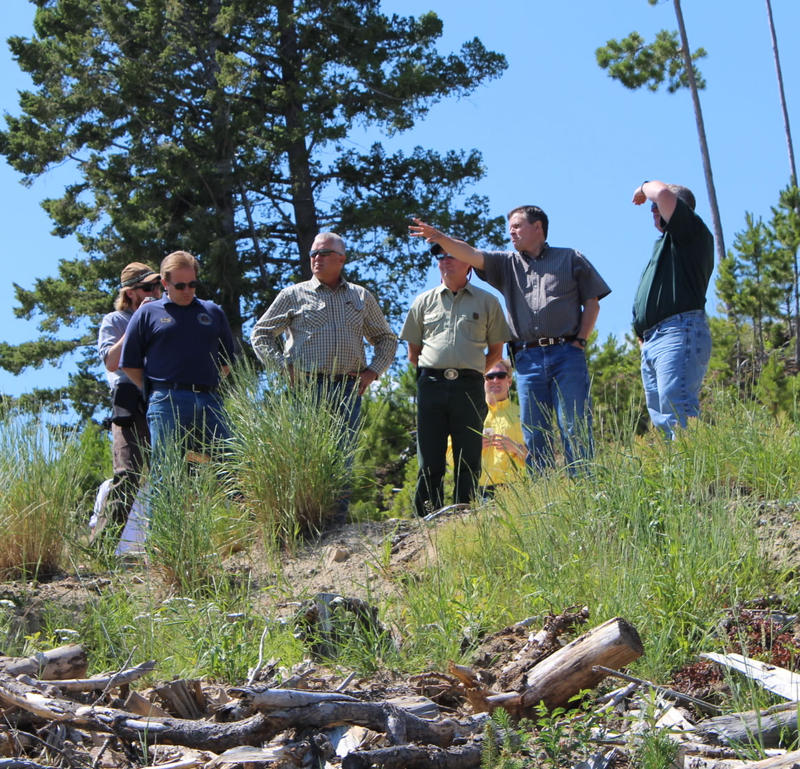Sen. Daines and other officials on a tour of the Tenmile watershed.