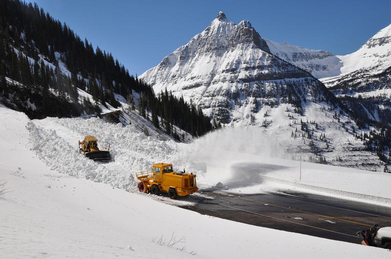 Plow crews work their way up Going-to-the-Sun Road in April 2015