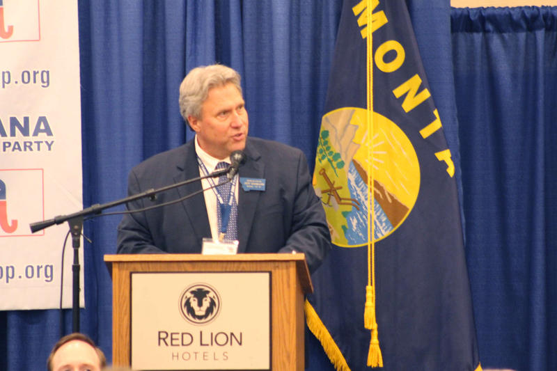 Billings Rep. Jeff Essmann at the Montana Republican Party Convention in Helena Sunday