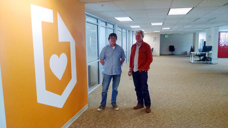John Brownell and Michael FitzGerald, founders of Submittable, stand in their office in the Florence building in Missoula, MT, June, 2015.