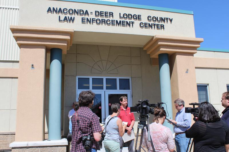 Anaconda-Deer Lodge County Chief of Law Enforcement Tim Barkell at Tuesday's press conference in Anaconda, MT.