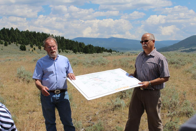 Alan Kirk, mine permitting manager, and Bob Jacko, vice president of operations for Tintina show plans for the Black Butte Mine in July 2015.