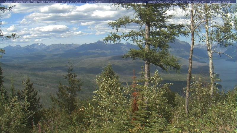 No smoke is visible from the Apgar Lookout webcam on the west side of Glacier National Park