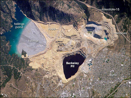 The Berkeley pit in Butte, Montana, as seen from above.