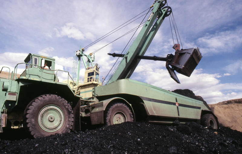 Heavy equipment loading coal at the Decker Coal Company.