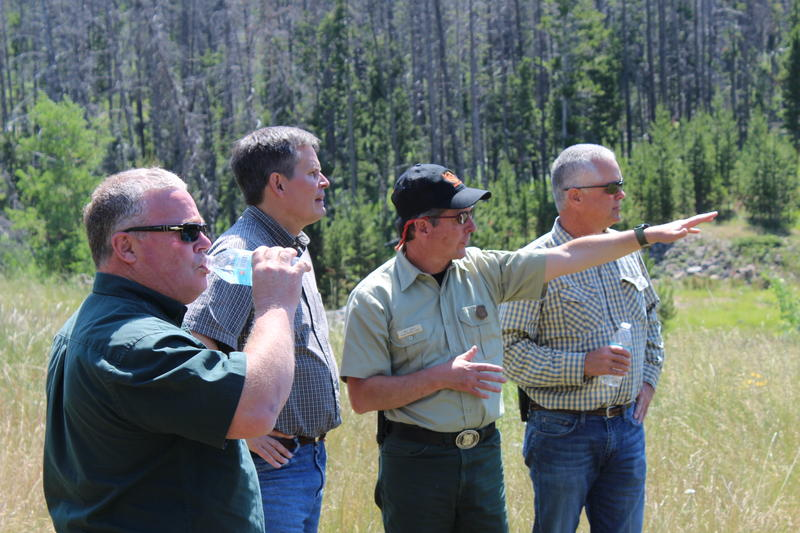 Sen. Daines at Chessman Reservoir with federal, state and local forest officials.