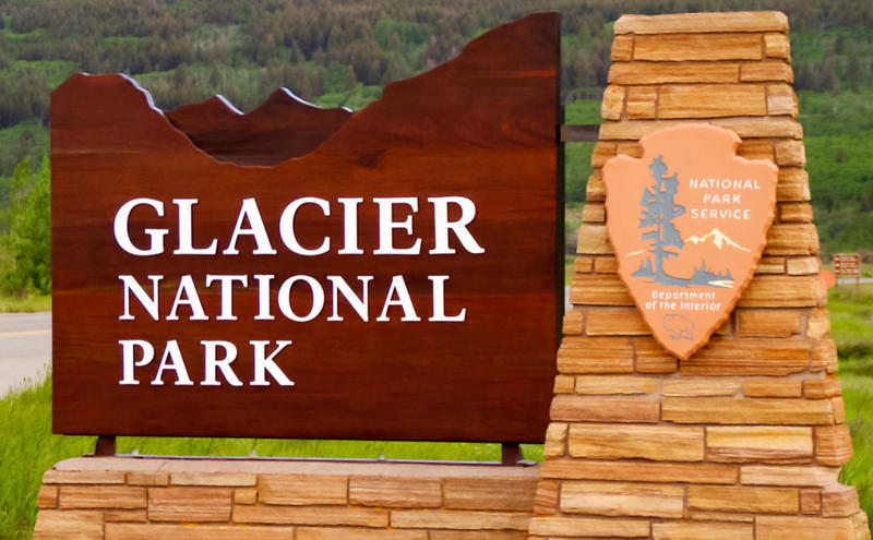 Glacier National Park entrance sign.
