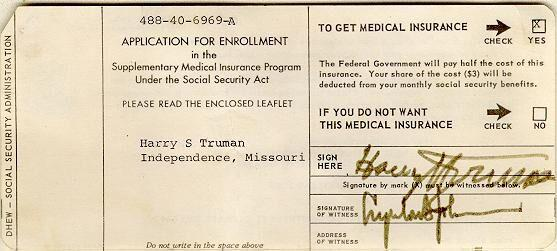 Harry Truman's application for Medicare