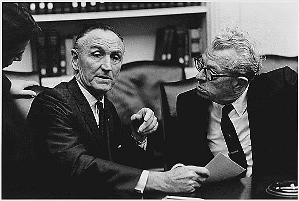 U.S. Senator Mike Mansfield (Left) and Everett Dirksen conversing.