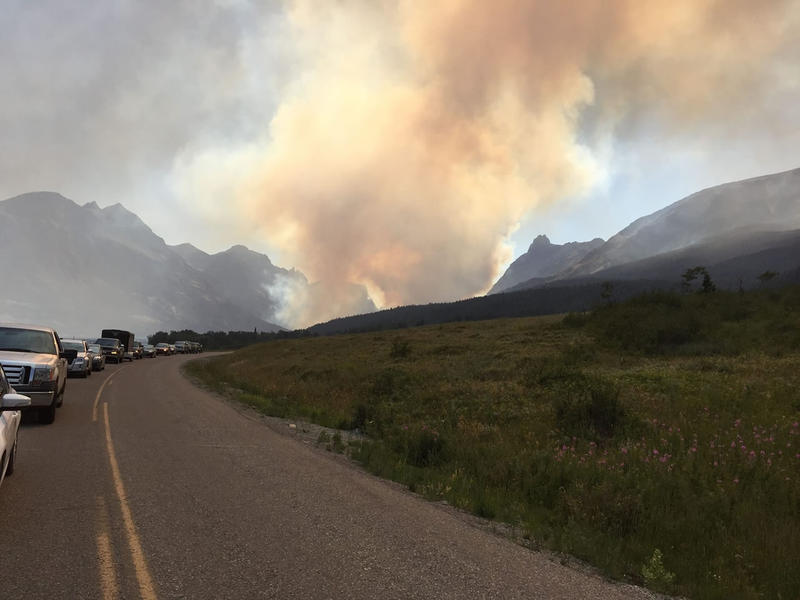 The Reynolds Creek Fire seen from Going-to-the-Sun Road in Glacier National Park