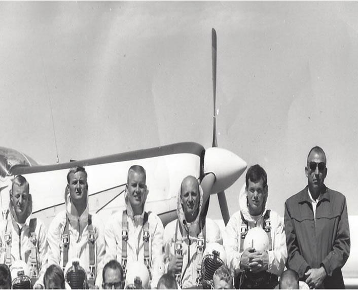 Smokejumpers before a jump in 1968. Jim Phillips is first from the left.