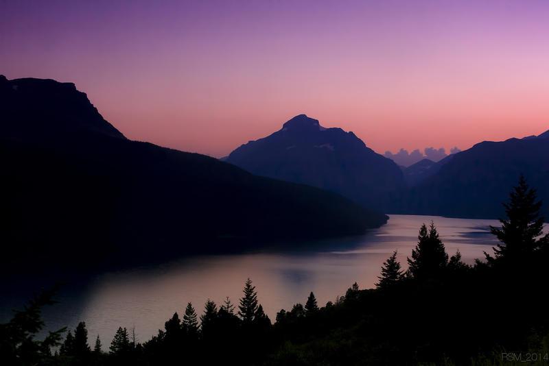 Lower Two Medicine Lake and Sinopah Mountain at sunset.