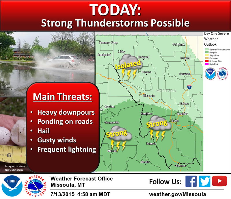 Strong thunderstorms are possible in parts of western Montana today
